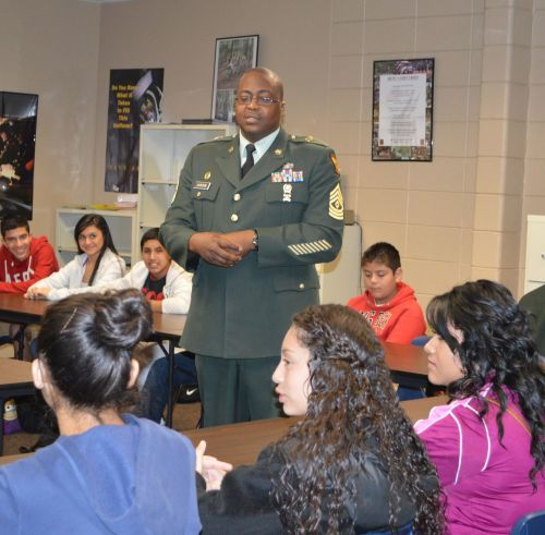 Sgt. Jackson reviews material on leadership for an upcoming test during one of his JROTC classes.