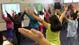 Blue Ridge students participate in Cosmic Yoga.