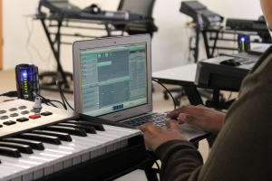 Stundets in Andrew Marsh's percussion class at Morris Innovative can create their own music on their new equipment.