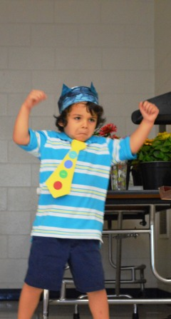 One Pre-K student shows off his moves at his graduation Friday at Blue Ridge Elementary.