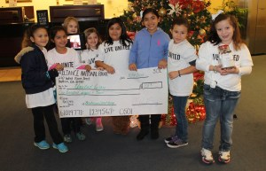 Chelsea Hernandez, Kaley Baldwin, Chloe Moser, Kursten Ware, Atzhiru Medina, Ali Gutierrez, America Quintero and Adriana Nolasco hold up their check and jar for their United Way campaign.