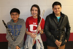 Roberto Ortiz, Madison Esters and Ronaldo Alvarez made it to All State Band auditions.