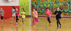 Fourth grade girls participate in the pacer test.