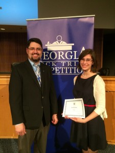 Dalton High student Kendall Brown was inducted into the Class of 2014 Student Bar of Georgia by Michael NIxon, State Mock Trial coordinator.
