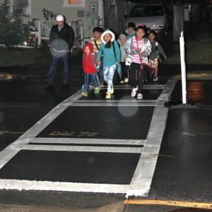 Blue Ridge students fight the elements and walk to school on Georgia Walk to School Day.