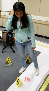 Maria Camacho inspects blood stains in the CSI Camp crime scene.
