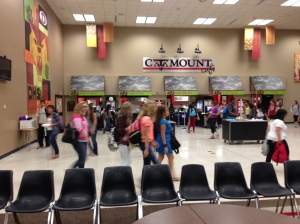 Dalton High students re-enter the food lines in the cafeteria/Commons area after it was reopened following an HVAC malfunction.