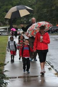 Roan assistant principal Charlie Tripp and Dalton Board of Education member Steve Laird walk