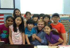 Phillips with his homeroom students on the last day of class.